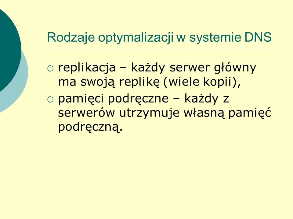 Rodzaje optymalizacji w systemie DNS replikacja – każdy serwer główny ma swoją replikę (wiele kopii), pamięci podręczne – każdy z serwerów utrzymuje w