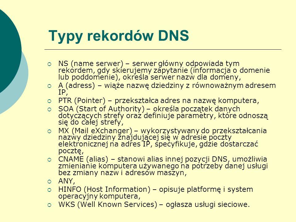 Typy rekordów DNS NS (name serwer) – serwer główny odpowiada tym rekordem, gdy skierujemy zapytanie (informacja o domenie lub poddomenie), określa ser
