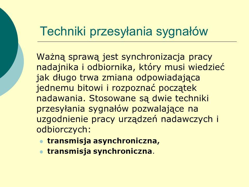 Techniki przesyłania sygnałów Ważną sprawą jest synchronizacja pracy nadajnika i odbiornika, który musi wiedzieć jak długo trwa zmiana odpowiadająca j