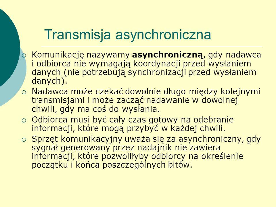 Transmisja asynchroniczna Komunikację nazywamy asynchroniczną, gdy nadawca i odbiorca nie wymagają koordynacji przed wysłaniem danych (nie potrzebują