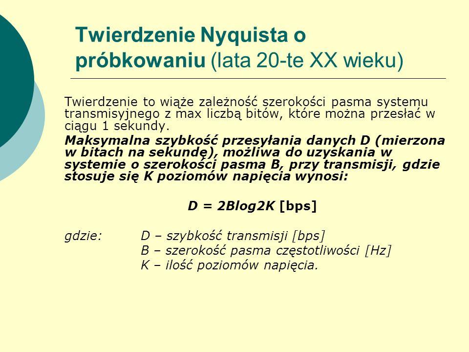 Twierdzenie Nyquista o próbkowaniu (lata 20-te XX wieku) Twierdzenie to wiąże zależność szerokości pasma systemu transmisyjnego z max liczbą bitów, kt