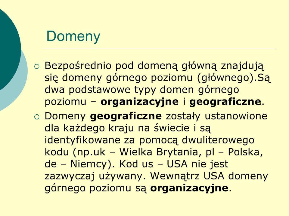 Domeny Bezpośrednio pod domeną główną znajdują się domeny górnego poziomu (głównego).Są dwa podstawowe typy domen górnego poziomu – organizacyjne i ge