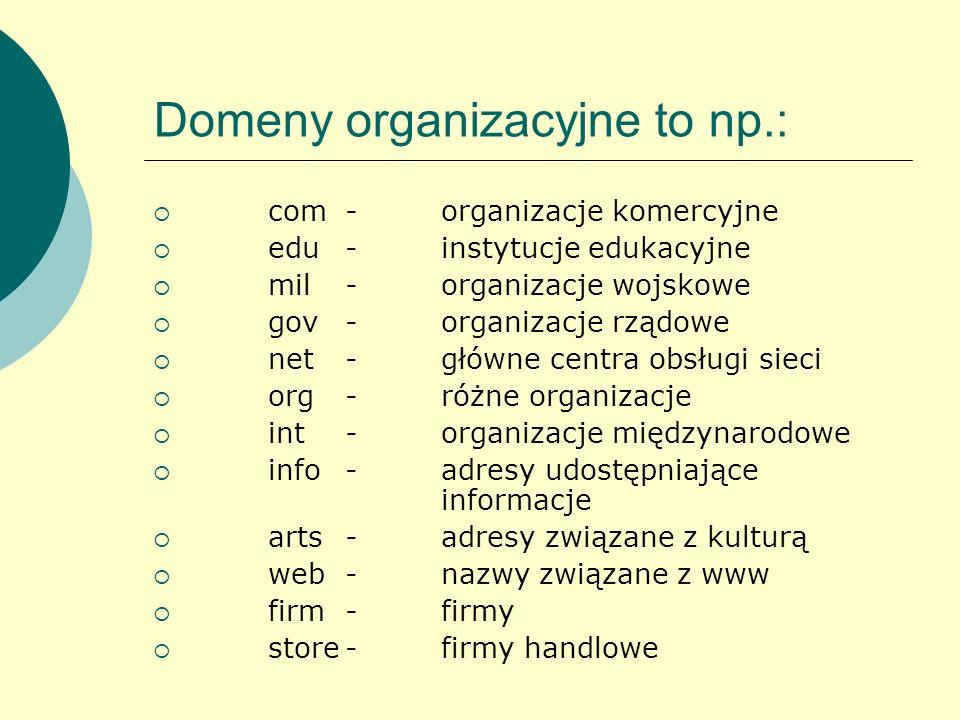 Domeny organizacyjne to np.: com-organizacje komercyjne edu-instytucje edukacyjne mil-organizacje wojskowe gov-organizacje rządowe net-główne centra o