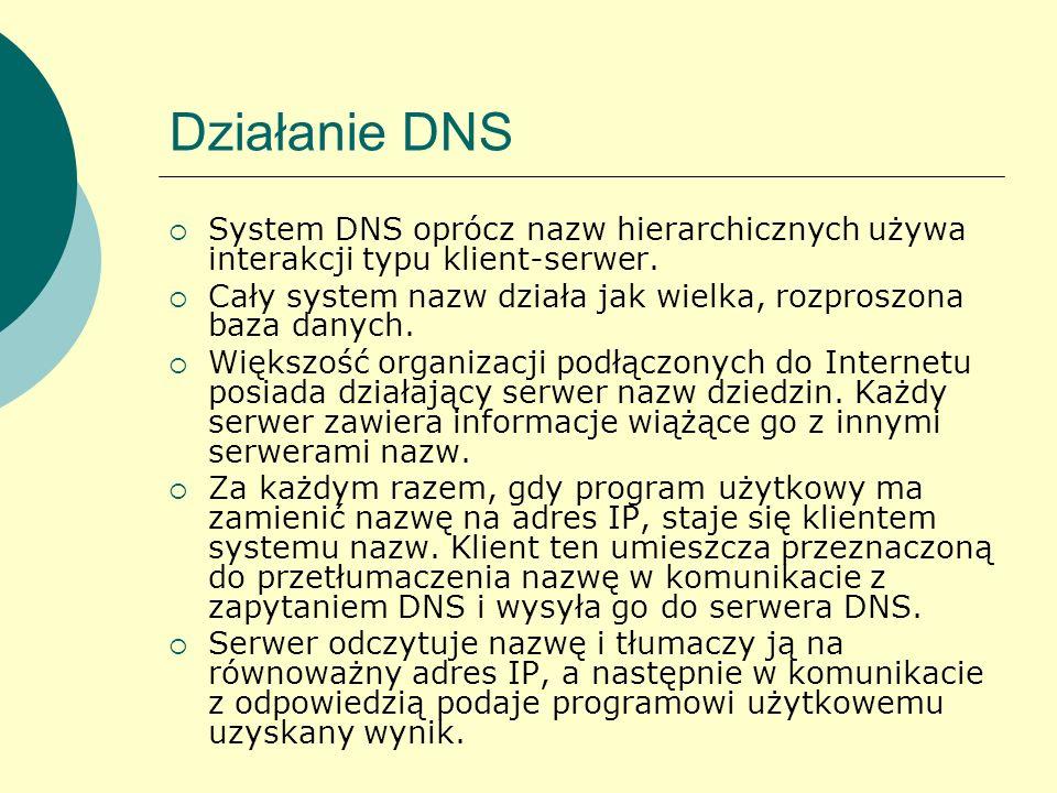 Działanie DNS System DNS oprócz nazw hierarchicznych używa interakcji typu klient-serwer. Cały system nazw działa jak wielka, rozproszona baza danych.