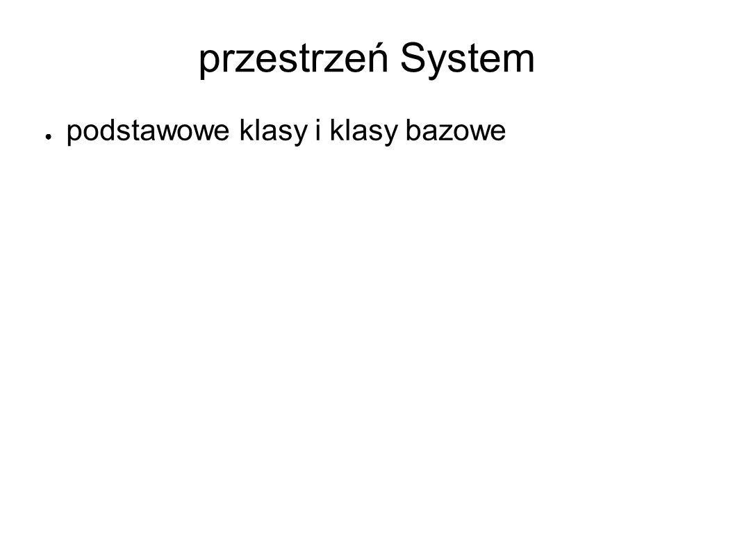 przestrzeń System podstawowe klasy i klasy bazowe