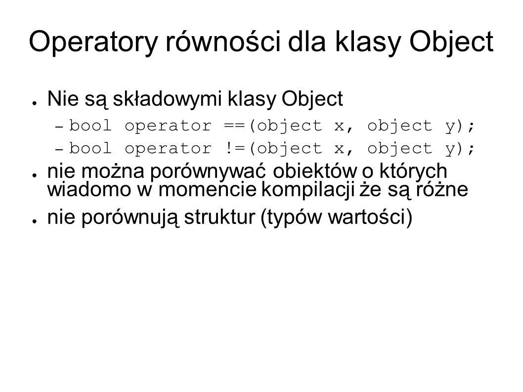 Operatory równości dla klasy Object Nie są składowymi klasy Object – bool operator ==(object x, object y); – bool operator !=(object x, object y); nie można porównywać obiektów o których wiadomo w momencie kompilacji że są różne nie porównują struktur (typów wartości)