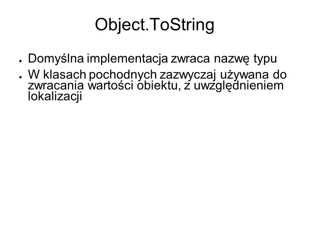 Object.ToString Domyślna implementacja zwraca nazwę typu W klasach pochodnych zazwyczaj używana do zwracania wartości obiektu, z uwzględnieniem lokali