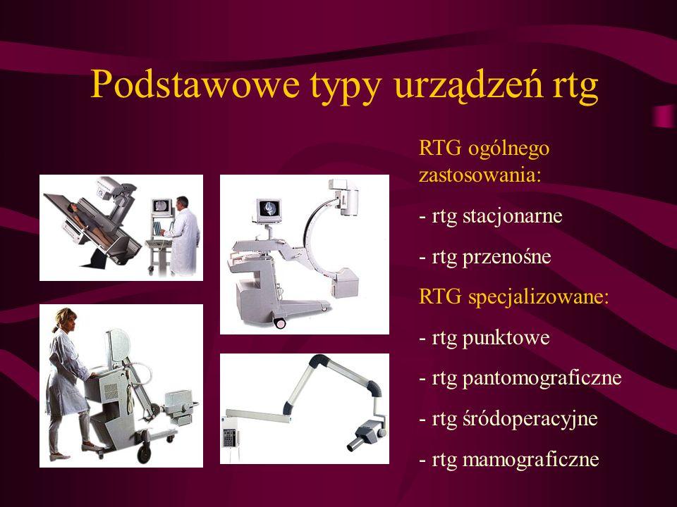 RTG ogólnego zastosowania: - rtg stacjonarne - rtg przenośne RTG specjalizowane: - rtg punktowe - rtg pantomograficzne - rtg śródoperacyjne - rtg mamo