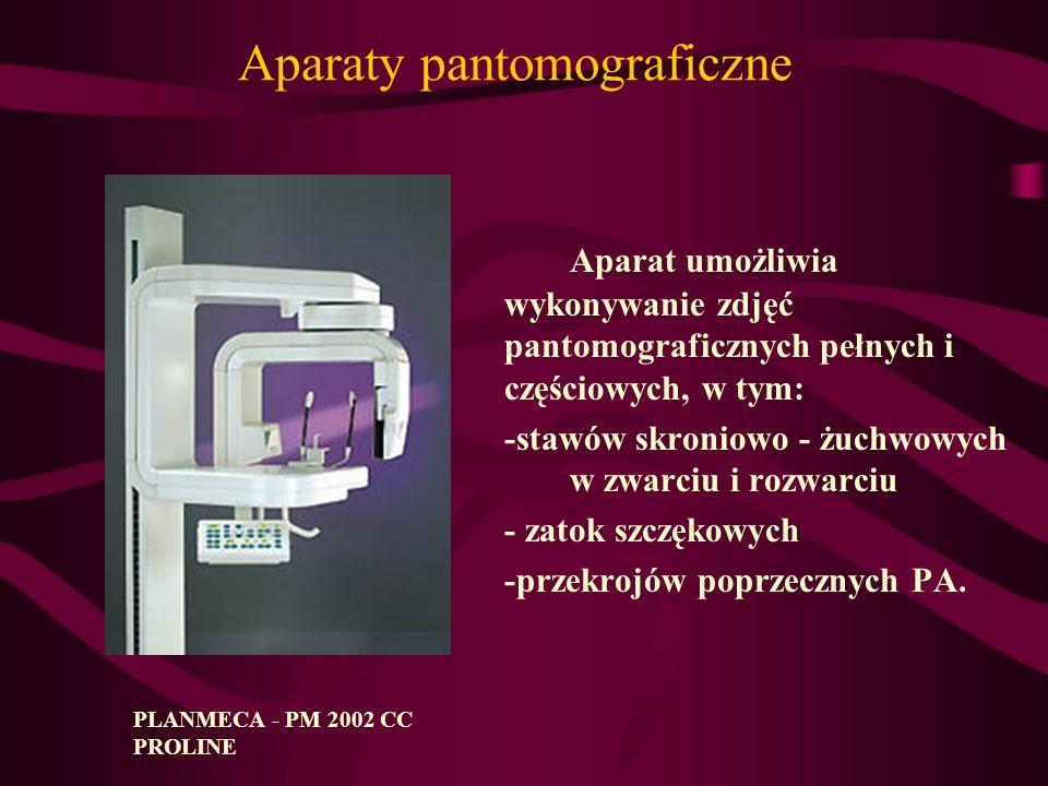 Aparaty pantomograficzne Aparat umożliwia wykonywanie zdjęć pantomograficznych pełnych i częściowych, w tym: -stawów skroniowo - żuchwowych w zwarciu