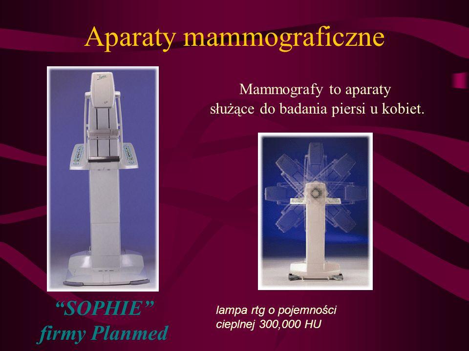 Aparaty mammograficzne Mammografy to aparaty służące do badania piersi u kobiet. SOPHIE firmy Planmed lampa rtg o pojemności cieplnej 300,000 HU