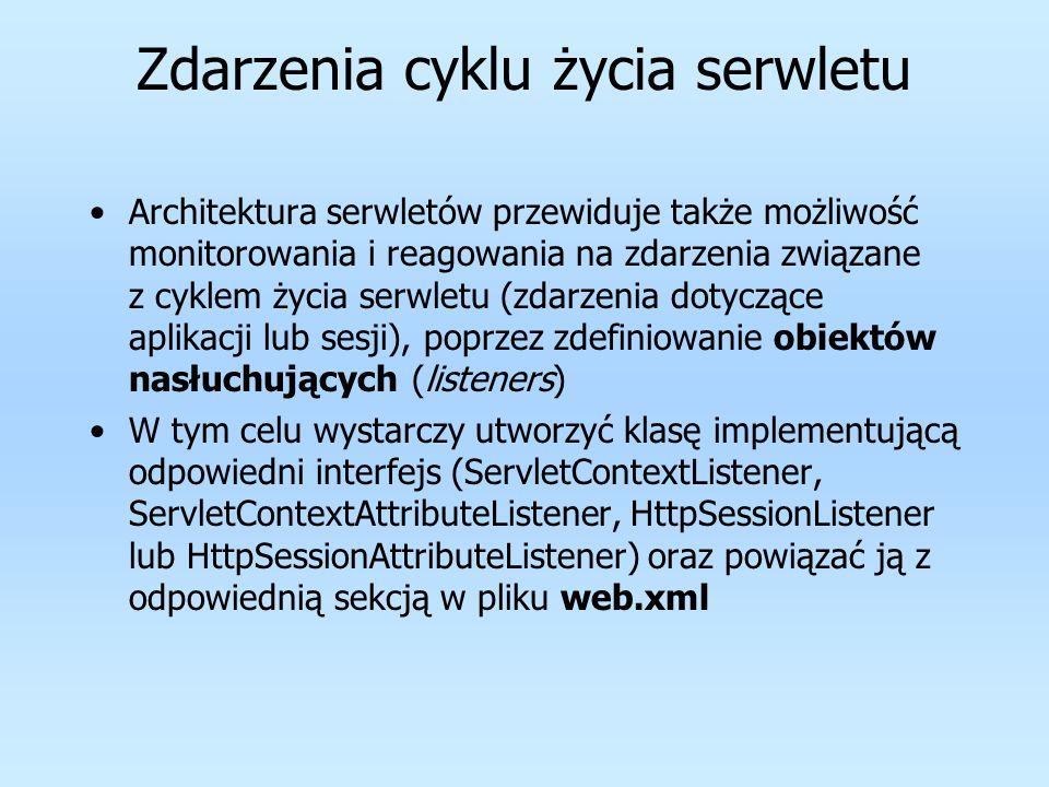Zdarzenia cyklu życia serwletu Architektura serwletów przewiduje także możliwość monitorowania i reagowania na zdarzenia związane z cyklem życia serwl