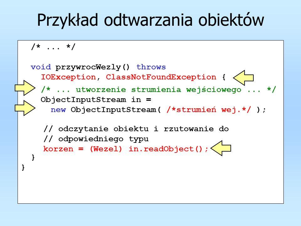 Przykład odtwarzania obiektów /*... */ void przywrocWezly() throws IOException, ClassNotFoundException { } /*... utworzenie strumienia wejściowego...