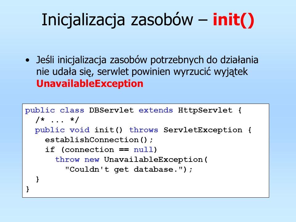 Zasoby można dodatkowo ustawić na null, aby szybciej uległy procesowi odśmiecania pamięci public class DBServlet extends HttpServlet { /*...