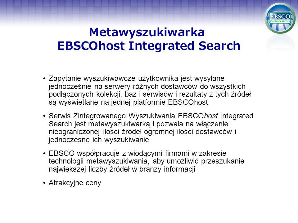 Metawyszukiwarka EBSCOhost Integrated Search Zapytanie wyszukiwawcze użytkownika jest wysyłane jednocześnie na serwery różnych dostawców do wszystkich