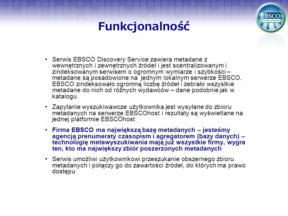 Funkcjonalność Serwis EBSCO Discovery Service zawiera metadane z wewnętrznych i zewnętrznych źródeł i jest scentralizowanym i zindeksowanym serwisem o