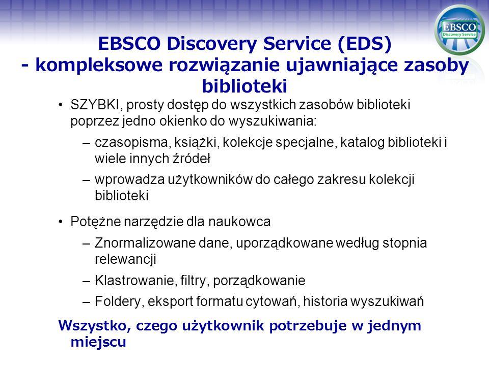 EBSCO Discovery Service (EDS) - kompleksowe rozwiązanie ujawniające zasoby biblioteki SZYBKI, prosty dostęp do wszystkich zasobów biblioteki poprzez j