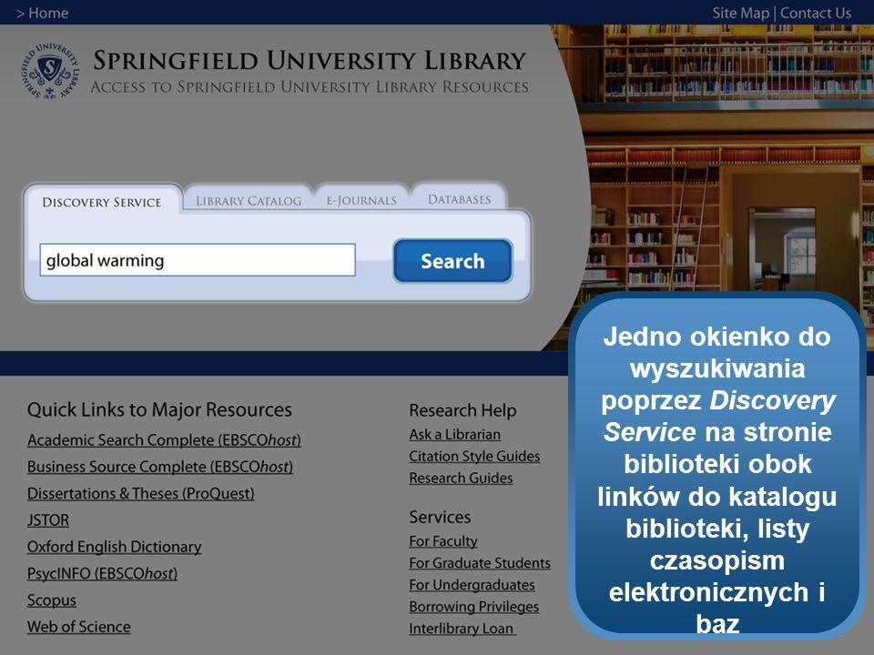 Jedno okienko do wyszukiwania poprzez Discovery Service na stronie biblioteki obok linków do katalogu biblioteki, listy czasopism elektronicznych i ba