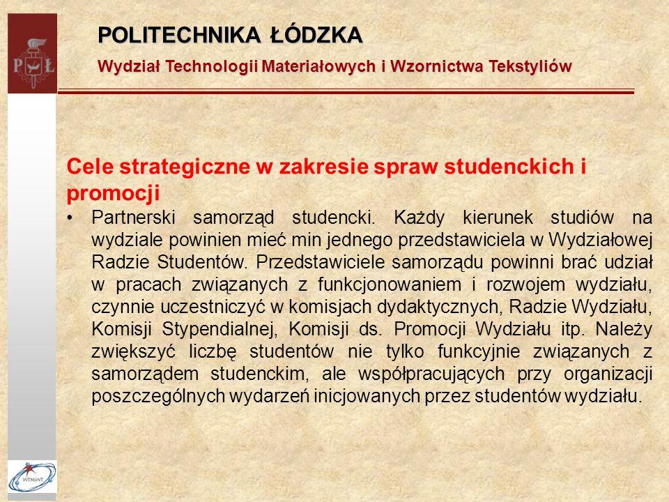 POLITECHNIKA ŁÓDZKA Wydział Technologii Materiałowych i Wzornictwa Tekstyliów Cele strategiczne w zakresie spraw studenckich i promocji Partnerski samorząd studencki.