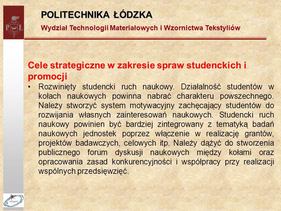 POLITECHNIKA ŁÓDZKA Wydział Technologii Materiałowych i Wzornictwa Tekstyliów Cele strategiczne w zakresie spraw studenckich i promocji Rozwinięty studencki ruch naukowy.