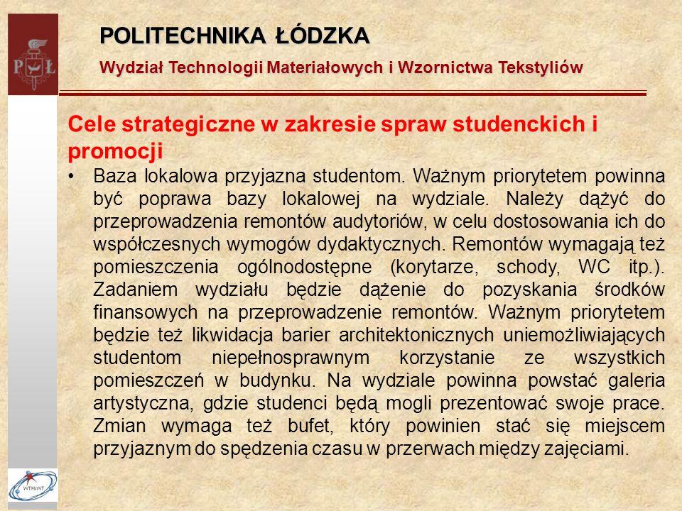 POLITECHNIKA ŁÓDZKA Wydział Technologii Materiałowych i Wzornictwa Tekstyliów Cele strategiczne w zakresie spraw studenckich i promocji Baza lokalowa przyjazna studentom.
