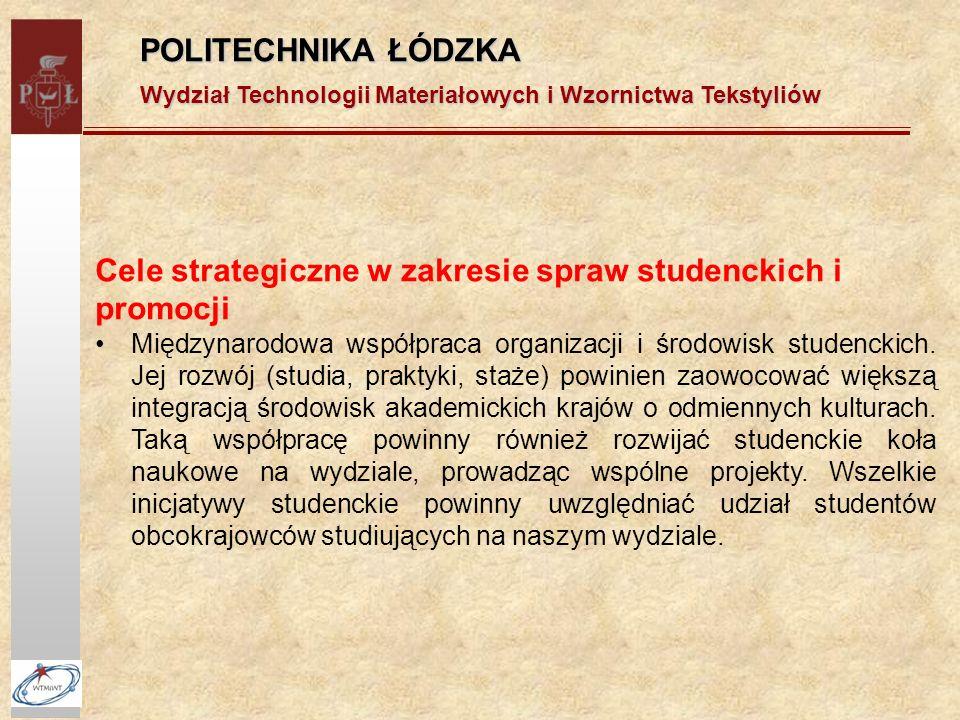 POLITECHNIKA ŁÓDZKA Wydział Technologii Materiałowych i Wzornictwa Tekstyliów Cele strategiczne w zakresie spraw studenckich i promocji Międzynarodowa współpraca organizacji i środowisk studenckich.