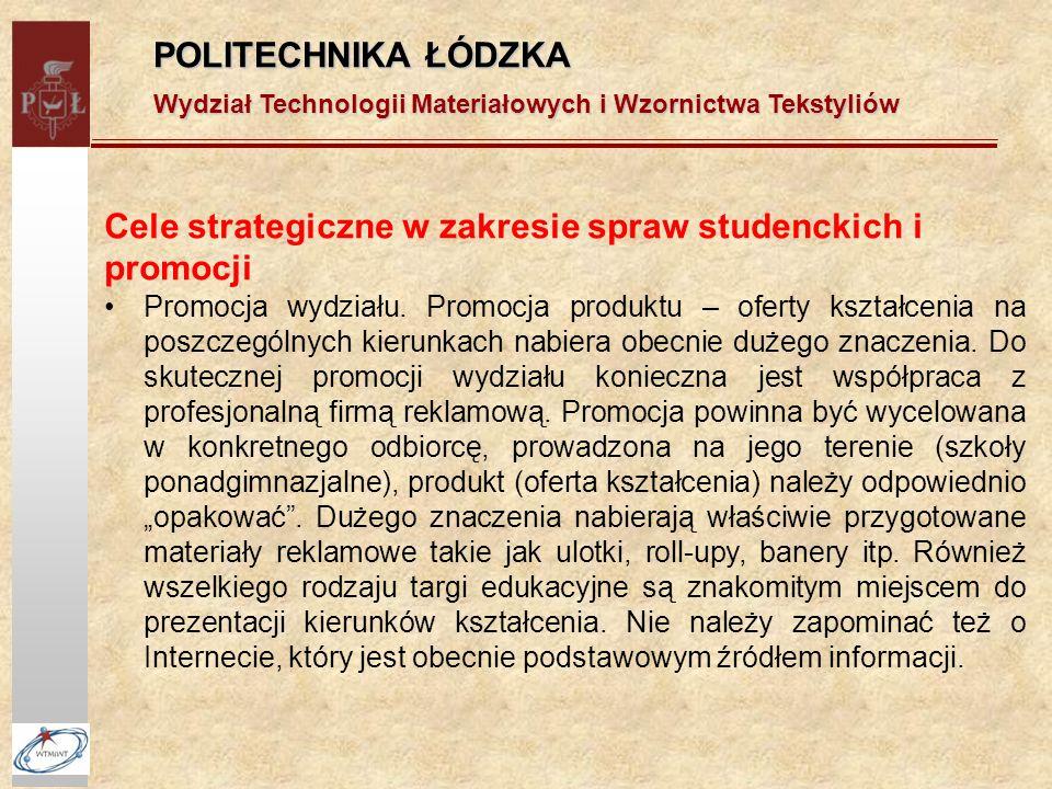 POLITECHNIKA ŁÓDZKA Wydział Technologii Materiałowych i Wzornictwa Tekstyliów Cele strategiczne w zakresie spraw studenckich i promocji Promocja wydziału.
