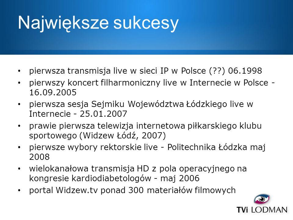 Największe sukcesy pierwsza transmisja live w sieci IP w Polsce (??) 06.1998 pierwszy koncert filharmoniczny live w Internecie w Polsce - 16.09.2005 p