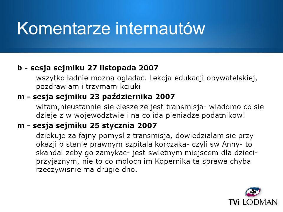 Komentarze internautów b - sesja sejmiku 27 listopada 2007 wszytko ładnie mozna ogladać. Lekcja edukacji obywatelskiej, pozdrawiam i trzymam kciuki m