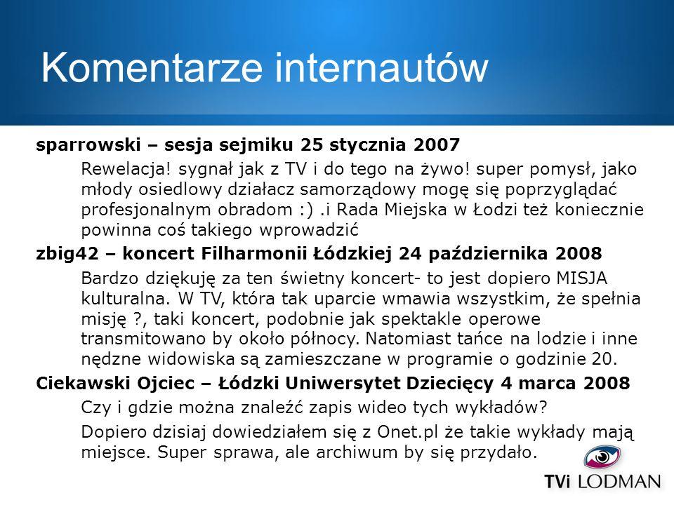 Komentarze internautów sparrowski – sesja sejmiku 25 stycznia 2007 Rewelacja! sygnał jak z TV i do tego na żywo! super pomysł, jako młody osiedlowy dz