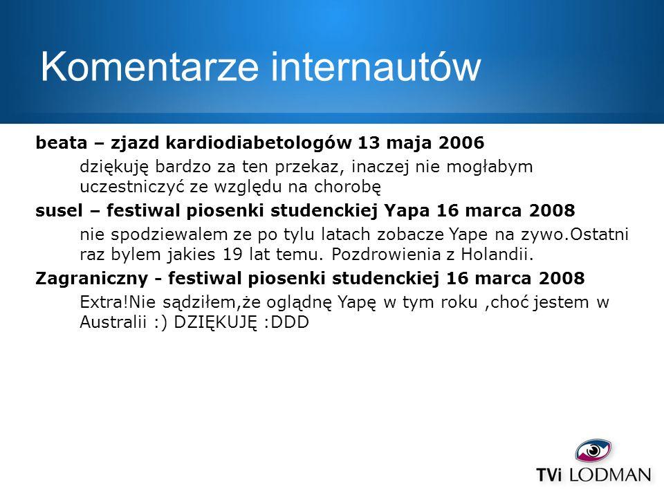 Komentarze internautów beata – zjazd kardiodiabetologów 13 maja 2006 dziękuję bardzo za ten przekaz, inaczej nie mogłabym uczestniczyć ze względu na c