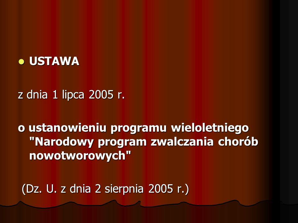 USTAWA USTAWA z dnia 1 lipca 2005 r. o ustanowieniu programu wieloletniego