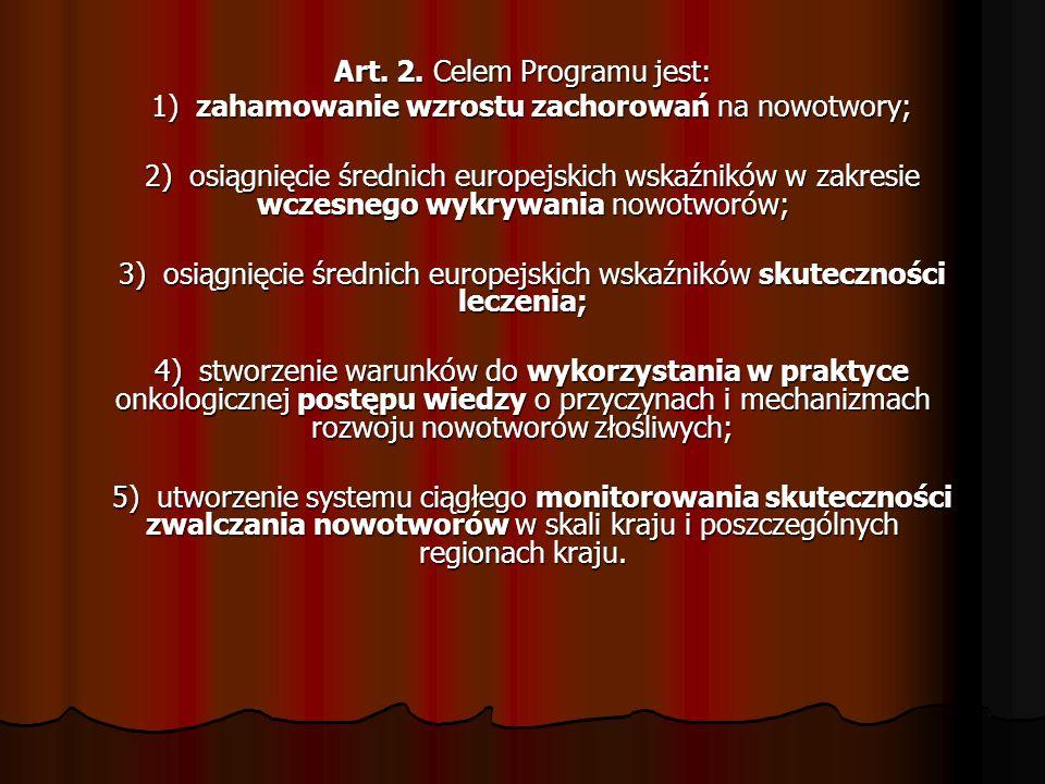 Art. 2. Celem Programu jest: 1) zahamowanie wzrostu zachorowań na nowotwory; 1) zahamowanie wzrostu zachorowań na nowotwory; 2) osiągnięcie średnich e