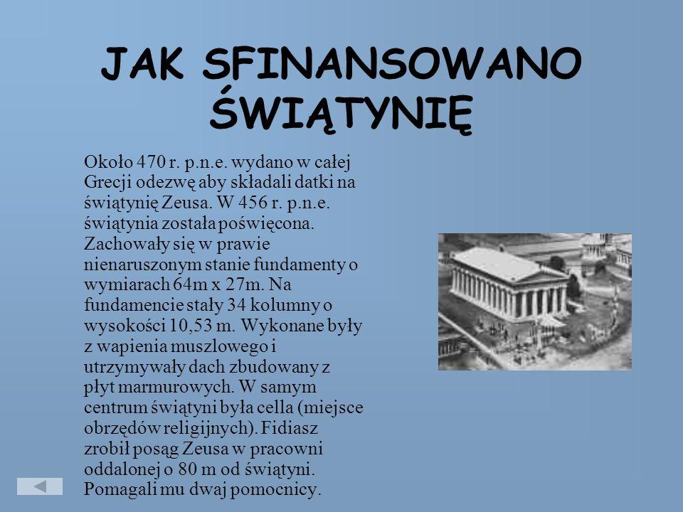 JAK SFINANSOWANO ŚWIĄTYNIĘ Około 470 r.p.n.e.
