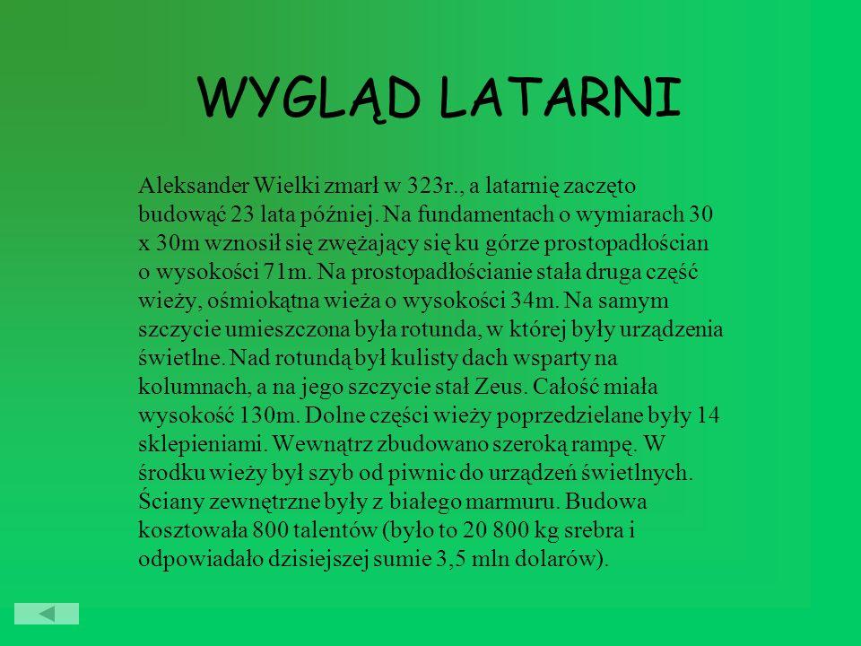 WYGLĄD LATARNI Aleksander Wielki zmarł w 323r., a latarnię zaczęto budowąć 23 lata później.