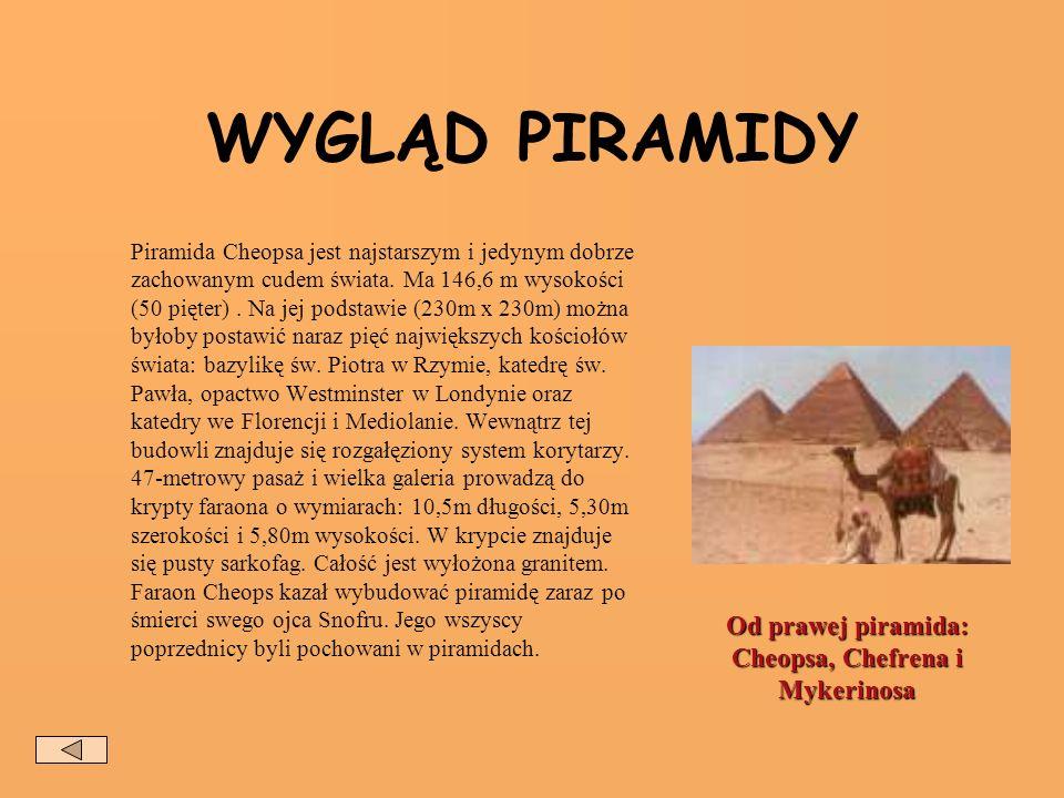 WYGLĄD PIRAMIDY Piramida Cheopsa jest najstarszym i jedynym dobrze zachowanym cudem świata.