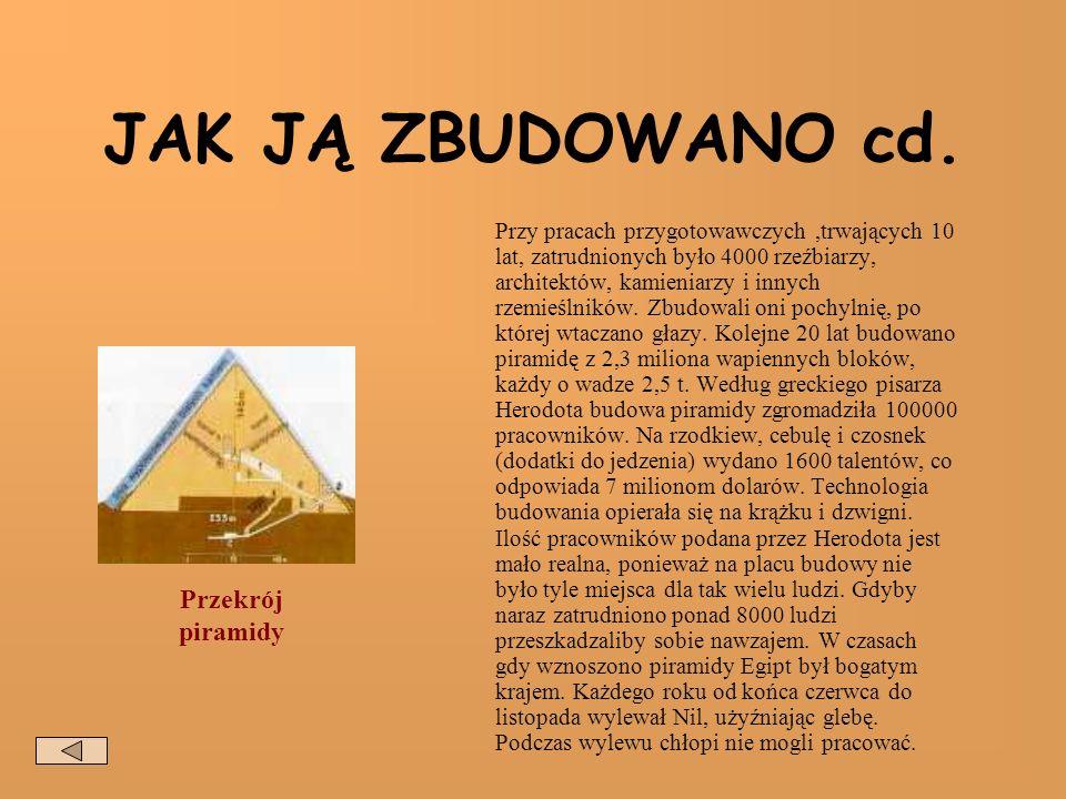 KTO PRACOWAŁ PRZY BUDOWIE Do budowy piramidy chętnych było bardzo dużo.