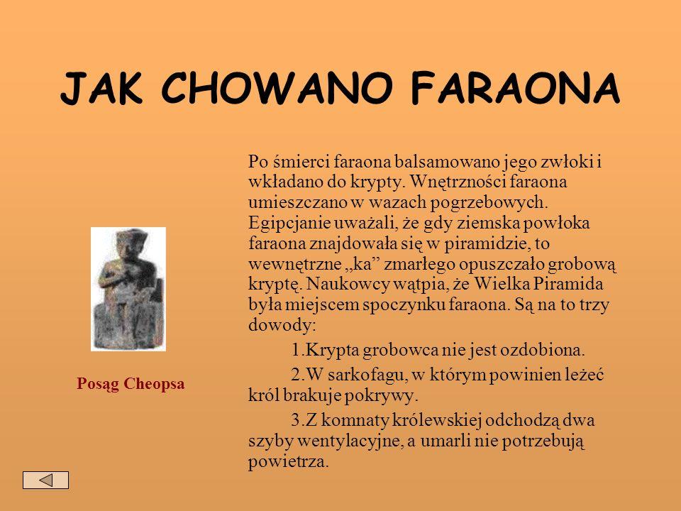 JAK CHOWANO FARAONA Po śmierci faraona balsamowano jego zwłoki i wkładano do krypty.