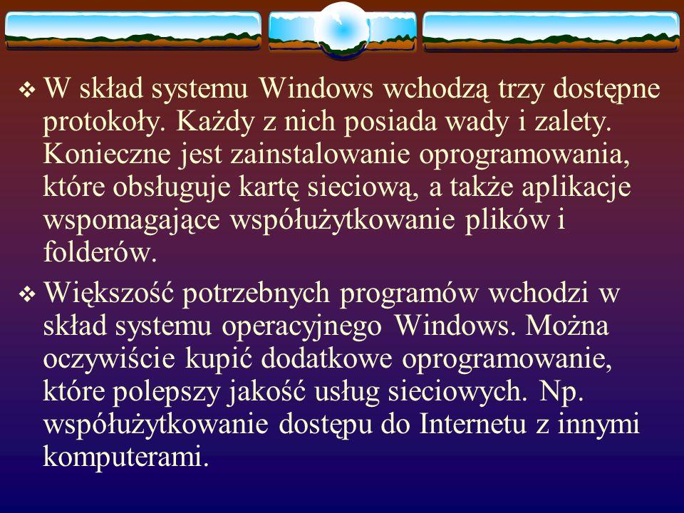 OPROGRAMOWANIE SIECIOWE Instalacja sieci wymaga odpowiedniego oprogramowania. Systemy operacyjne Windows 95 i 98 posiadają podstawowe oprogramowanie s