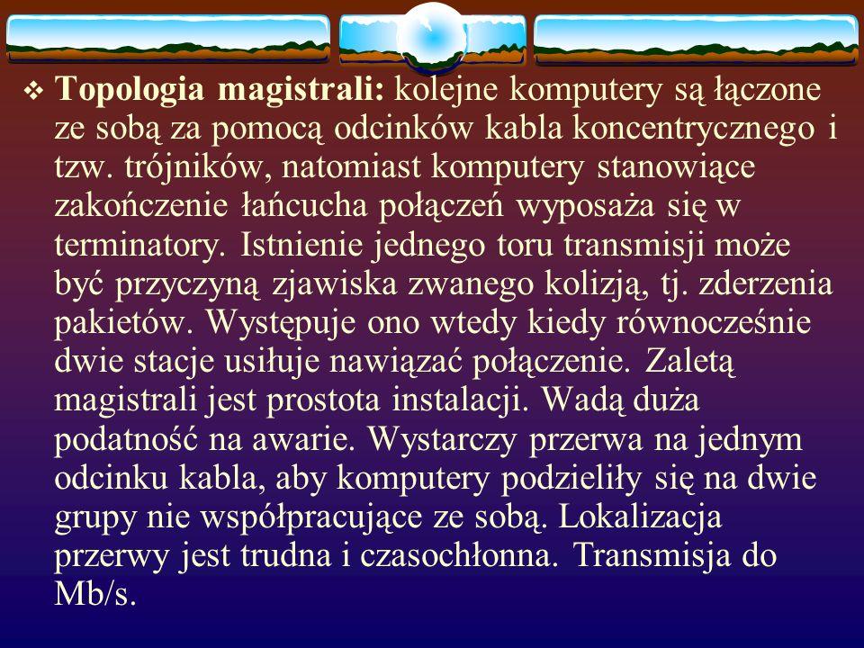 Topologia fizyczna: określa sposób fizycznego połączenia urządzeń sieciowych. Topologia logiczna: określa sposób komunikacji urządzeń sieciowych. TOPO