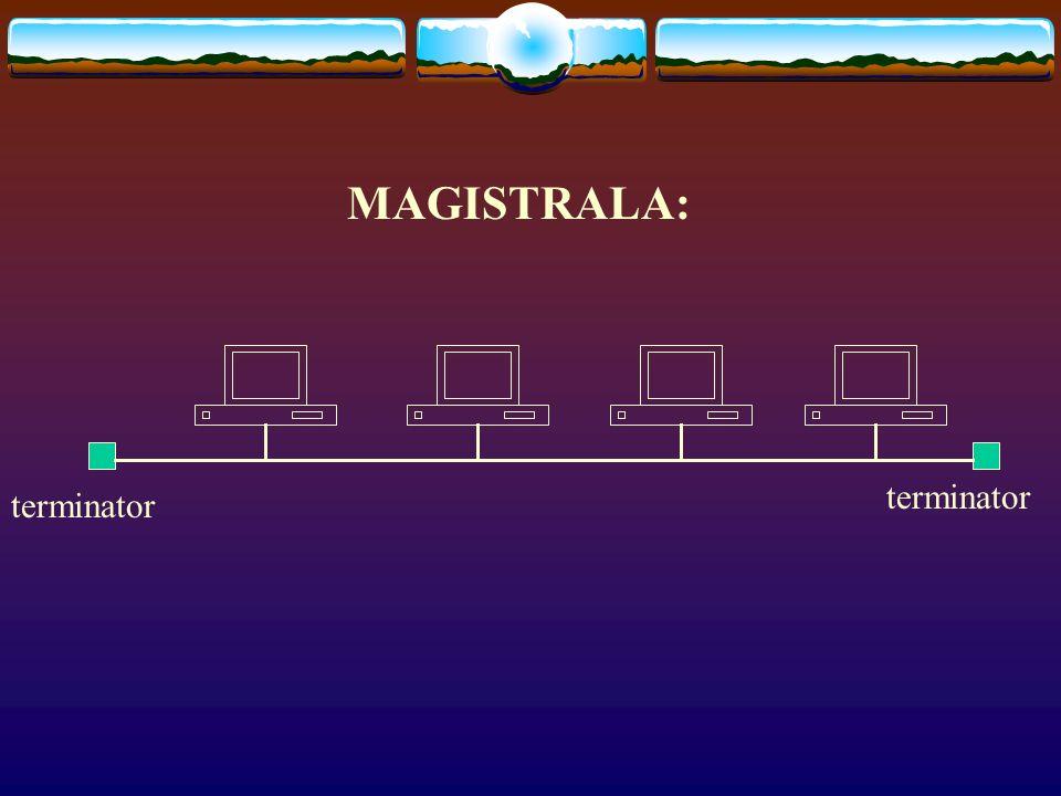 Topologia magistrali: kolejne komputery są łączone ze sobą za pomocą odcinków kabla koncentrycznego i tzw. trójników, natomiast komputery stanowiące z
