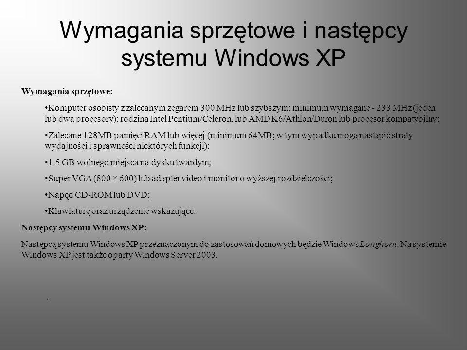 Edycje systemu Edycje systemu: Istnieją dwie główne wersje: Home Edition - wersja dla użytkowników domowych Professional - wersja dla firm i komputeró