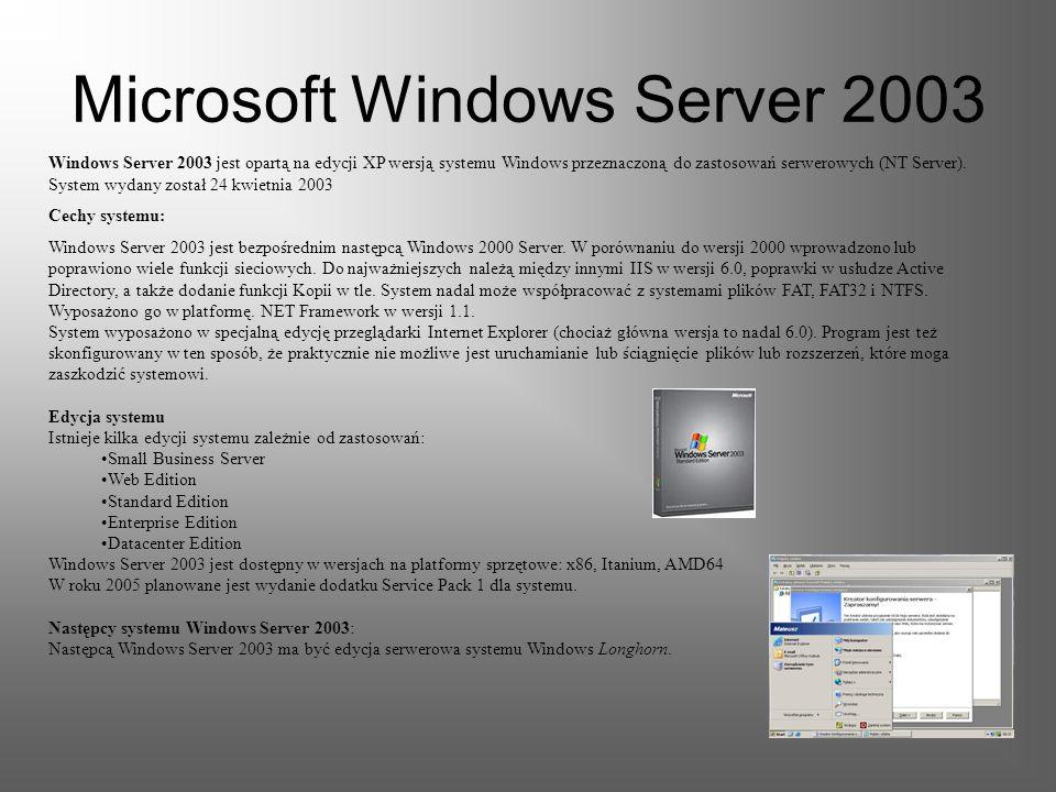 Wymagania sprzętowe i następcy systemu Windows XP Wymagania sprzętowe: Komputer osobisty z zalecanym zegarem 300 MHz lub szybszym; minimum wymagane -
