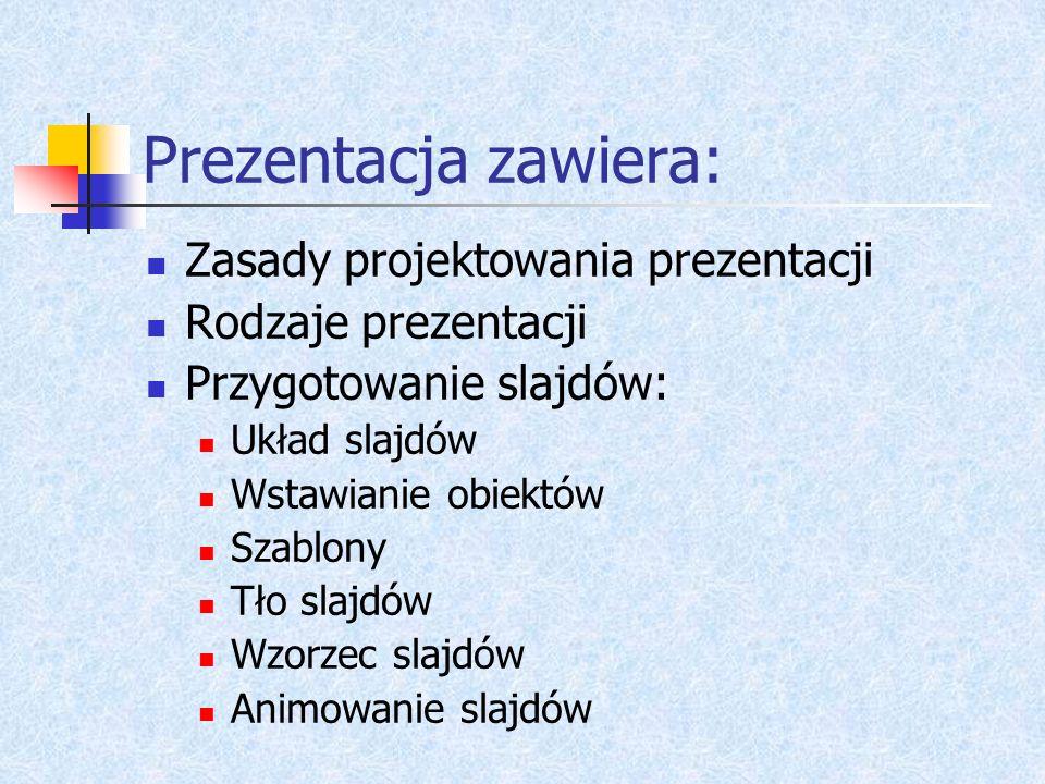 Prezentacja zawiera: Zasady projektowania prezentacji Rodzaje prezentacji Przygotowanie slajdów: Układ slajdów Wstawianie obiektów Szablony Tło slajdów Wzorzec slajdów Animowanie slajdów