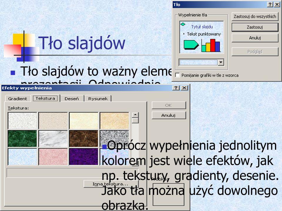 Szablony Przy tworzeniu prezentacji można skorzystać z gotowych szablonów. Określają one m.in. Schemat kolorów, tło slajdów, style czcionek. Oczywiści