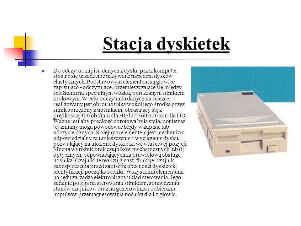 Stacja dyskietek Do odczytu i zapisu danych z dysku przez komputer stosuje się urządzenie nazywane napędem dysków elastycznych.