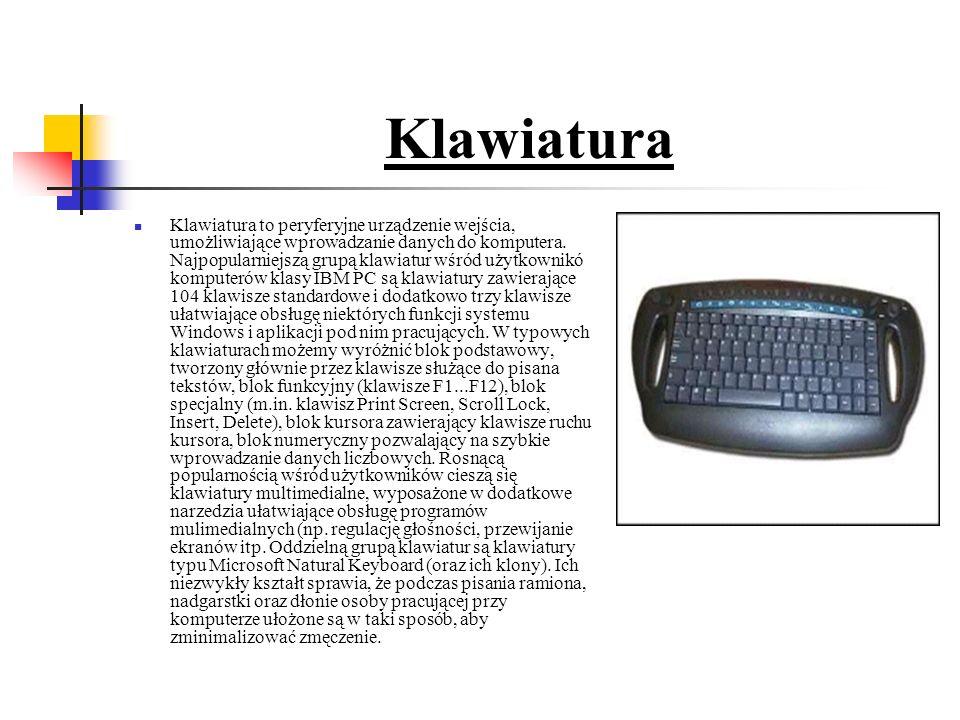 Klawiatura Klawiatura to peryferyjne urządzenie wejścia, umożliwiające wprowadzanie danych do komputera.