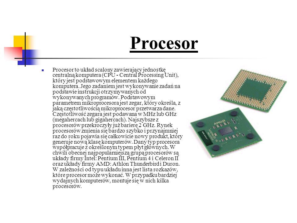 Procesor Procesor to układ scalony zawierający jednostkę centralną komputera (CPU - Central Processing Unit), który jest podstawowym elementem każdego komputera.