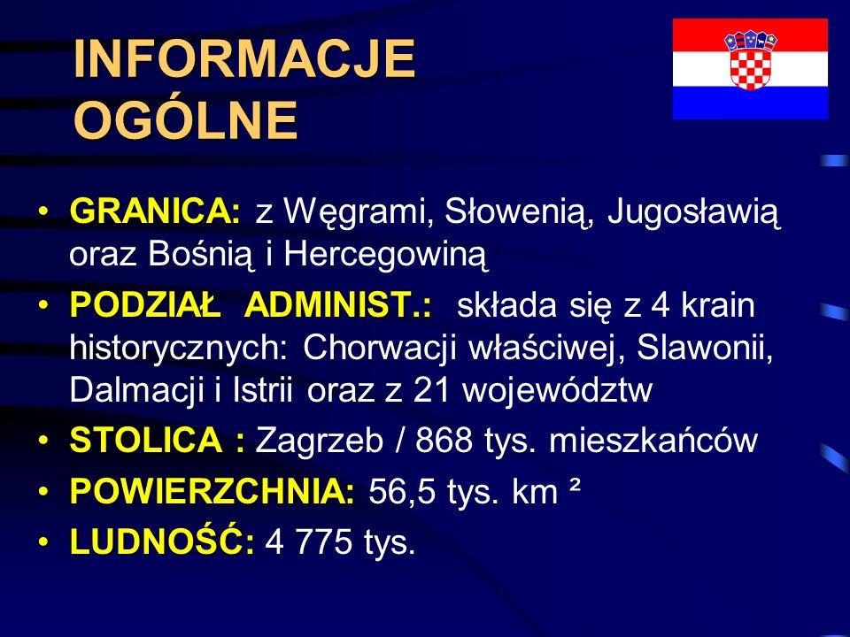 INFORMACJE OGÓLNE GRANICA:GRANICA: z Węgrami, Słowenią, Jugosławią oraz Bośnią i Hercegowiną PODZIAŁ ADMINIST.:PODZIAŁ ADMINIST.: składa się z 4 krain