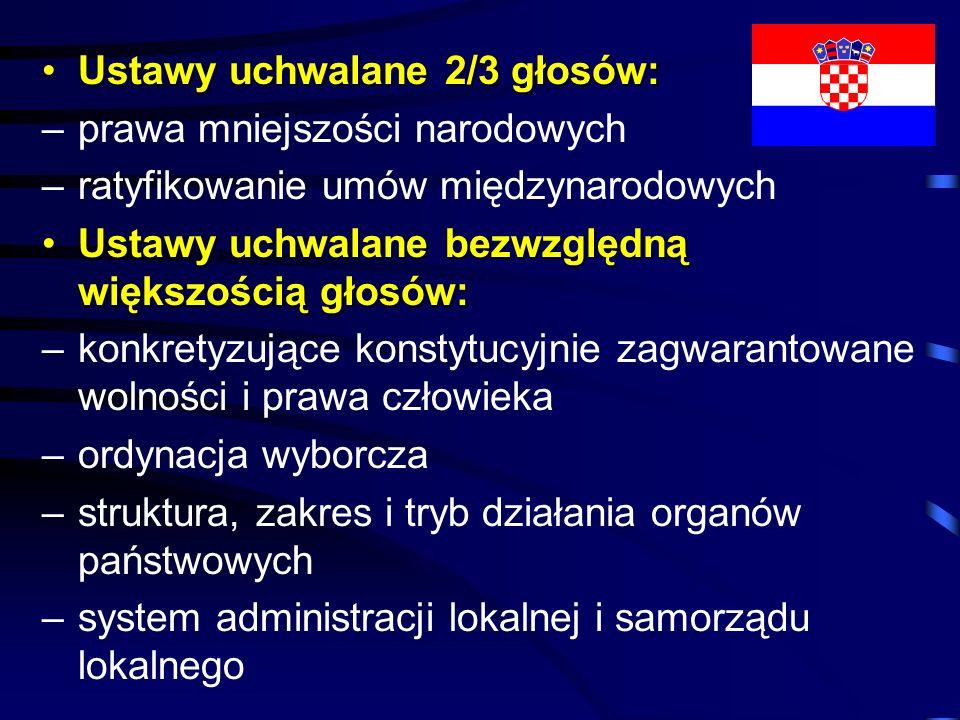 Ustawy uchwalane 2/3 głosów:Ustawy uchwalane 2/3 głosów: –prawa mniejszości narodowych –ratyfikowanie umów międzynarodowych Ustawy uchwalane bezwzględ