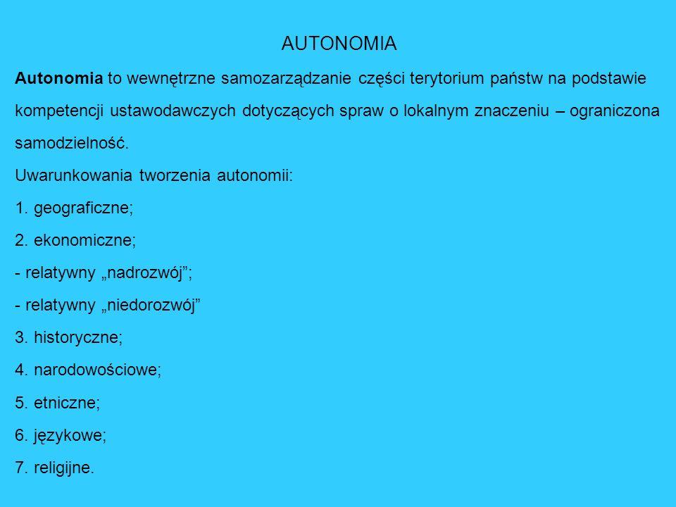 AUTONOMIA Autonomia to wewnętrzne samozarządzanie części terytorium państw na podstawie kompetencji ustawodawczych dotyczących spraw o lokalnym znacze